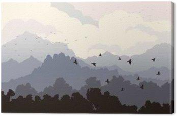 Obraz na Płótnie Poziome ilustracji stada ptaków i lasu z Mounta