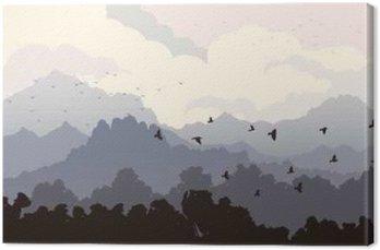 Poziome ilustracji stada ptaków i lasu z Mounta
