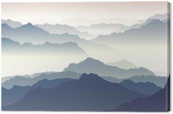 Obraz na Płótnie Poziome ilustracji zmierzchu w górach.