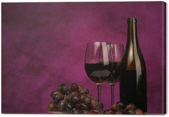 Obraz na Płótnie Poziomej butelki wina z okularami i winogron