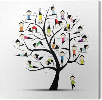 Obraz na Płótnie Praktyka jogi, koncepcji drzewa dla projektu