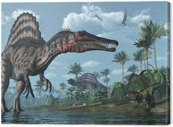 Prehistoryczne sceny z Spinosaurus i Psittacosaurus dinozaurów
