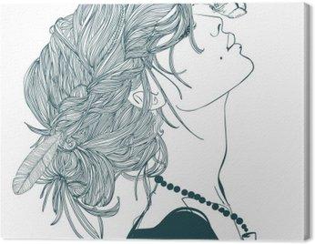 Profil piękne kobiety z motyla