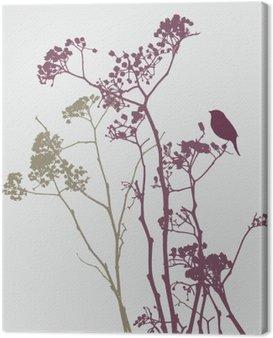 Obraz na Płótnie Ptak na łące kwiatów