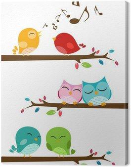 Obraz na Płótnie Ptaki śpiewają na gałęzi