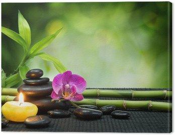 Obraz na Płótnie Purple Orchid, świeca, kamienie, bambus na czarny mat
