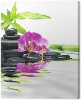 Obraz na Płótnie Purpurowe storczyki z bambusowych wież kamienie czarne na wodzie