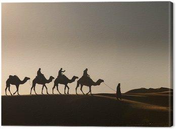 Obraz na Płótnie Pustynia, wielbłąd ride, korzystających i szczęśliwych ludzi