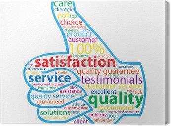 Obraz na Płótnie QUALITY-SERVICE-SATYSFAKCJA Tag Cloud (kciuki klientów up)