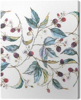 Obraz na Płótnie Ręcznie rysowane akwarela Jednolite ornament z naturalnych motywów: oddziały, liści jeżyny i jagody. Powtarzające dekoracyjny ilustracja, granicy z jagód i liści
