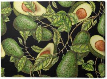 Obraz na Płótnie Ręcznie rysowane awokado na ciemnym tle, bez szwu wzór