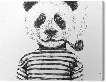 Obraz na Płótnie Ręcznie rysowane ilustracji hipster panda