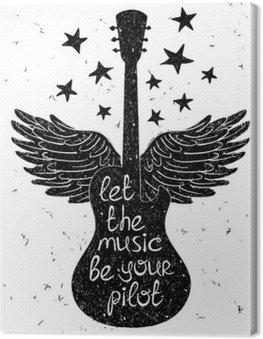 Obraz na Płótnie Ręcznie rysowane ilustracji muzycznej z sylwetkami gitary.