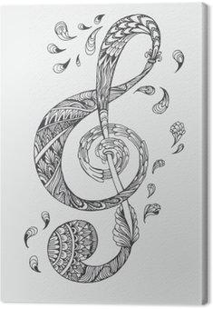 Ręcznie rysowane klucz muzyczny z ozdoby etniczne doodle wzór. ilustracji wektorowych Henna Mandala Zentangle stylizowane dla okładki książki lub karty, tatuaż więcej. Projektowanie dla duchowego relaksu dla dorosłych.