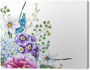 Obraz na Płótnie Ręcznie rysowane kwiaty akwarela