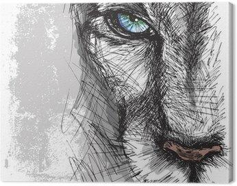 Obraz na Płótnie Ręcznie rysowane szkic lew patrząc uważnie na aparat