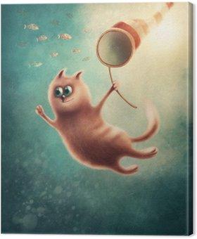 Obraz na Płótnie Red Cat połowu ryby