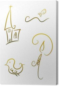 Obraz na Płótnie Religia / Chrześcijaństwo: Kościół, dove, świec i ryby