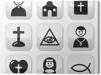 Obraz na Płótnie Religia, Kościół katolicki wektor zestaw przycisków