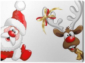 Obraz na Płótnie Renifery i Święty Mikołaj-ok Funny Santa Claus i reniferów