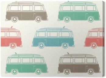Obraz na Płótnie Retro camper van z płytą surfowania. Szwu.