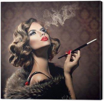 Obraz na Płótnie Retro Kobieta z ustnikiem. Vintage Styled Piękna Pani