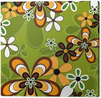 Obraz na Płótnie Retro pomarańczowy i zielony kwiat mocy