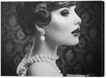 Obraz na Płótnie Retro Portret czarno-biała. Vintage stylu dziewczyna z cygarem