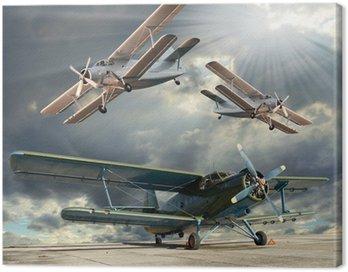 Obraz na Płótnie Retro styl obraz z biplanes. Temat transportu.