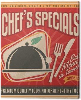 Obraz na Płótnie Retro szablon plakat do najlepszej restauracji w mieście
