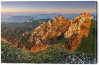 Obraz na Płótnie Rocky szczyt o zachodzie słońca - Rozsutec