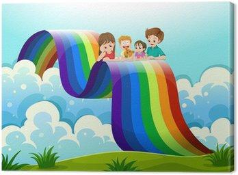 Obraz na Płótnie Rodzina ponad tęczą