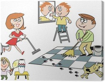 Obraz na Płótnie Rodzina sprzątanie domu kreskówki