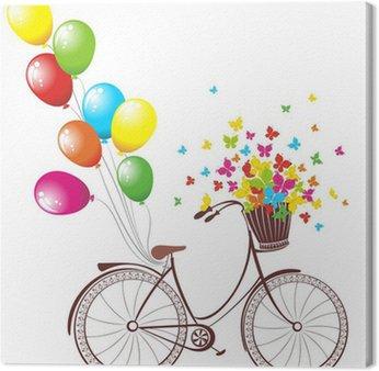 Obraz na Płótnie Romantyczna kartka urodzinowa. rower z balonów i kosz