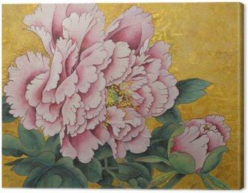 Obraz na Płótnie Różowa piwonia kwiat na złotym tle