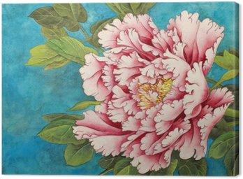 Różowa piwonia na niebieskim tle