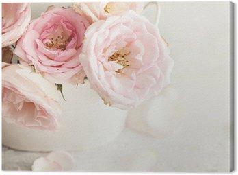 Obraz na Płótnie Różowe kwiaty w wazonie