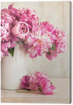Obraz na Płótnie Różowe piwonie w wazonie