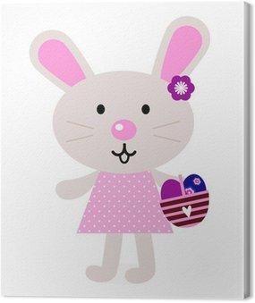 Obraz na Płótnie Różowy Easter bunny z jaj na białym