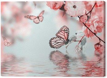 Obraz na Płótnie Różowy kwiat orientalny wiśni w i motyl