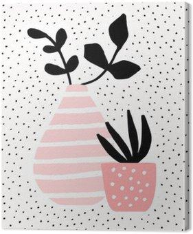 Obraz na Płótnie Różowy wazon i pot z roślinami