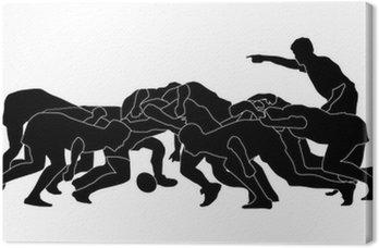 Obraz na Płótnie Rugby scrum_full_black silhoutte