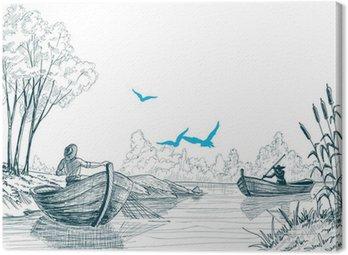 Obraz na Płótnie Rybak w szkicu łodzi, delta, rzeki lub morza tle w vect