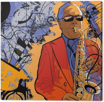 Obraz na Płótnie Saksofonista na tle grunge