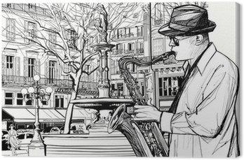 Saksofonista w ulicy Paryżu
