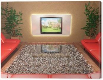 Obraz na Płótnie Salon z czerwonej kanapy i telewizor