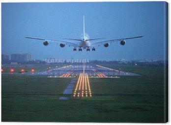 Obraz na Płótnie Samolotem latać nad pasa startu z lotniska