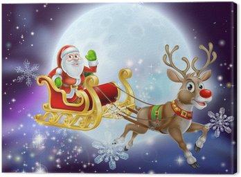 Obraz na Płótnie Santa Boże Narodzenie sanie Księżyc