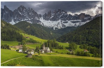 Obraz na Płótnie Santa Maddalena dolomity grupa, Val di Funes, Włochy, Europa.