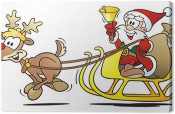 Obraz na Płótnie Santa z reniferów, Sledge i Bell